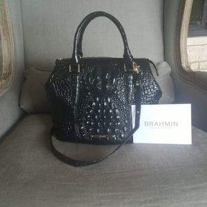 NWT BRAHMIN handbag black leather satchel
